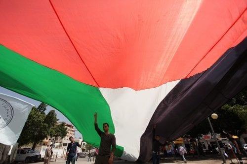 Manifestantes palestinos en Gaza, abril de 2016.