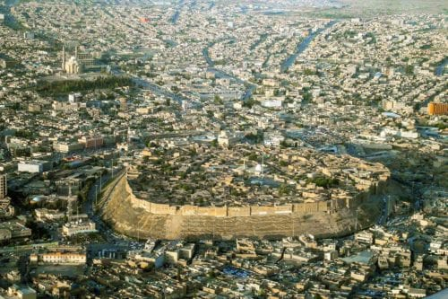 Vista aérea de la ciudadela de Erbil (Wikipedia).