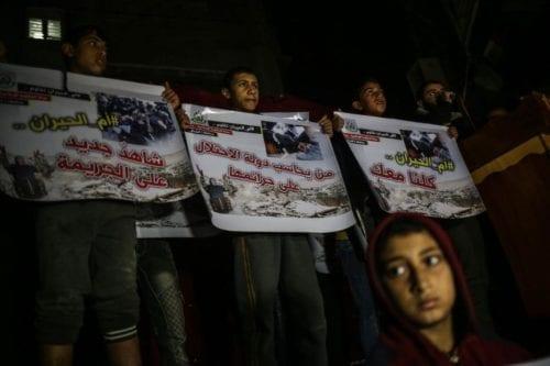 Gazaties protestan contra demoliciones israelíes en el Neguev