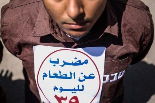 Manifestaciones de apoyo a los presos palestinos en huelga
