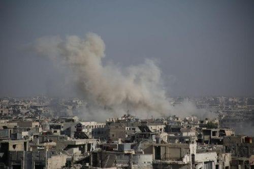 Ataques aéreos al este de Guta, Siria