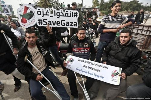 Manifestación en Gaza por el derecho a la sanidad