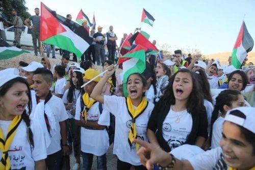 Manifestaciones en palestina en solidaridad con Khan Al-Akhmar