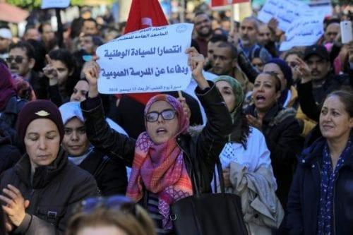 Los profesores de Túnez protestan contra los bajos salarios